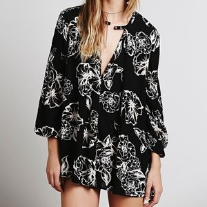 EUC Free People Black Floral Mini Tunic Dress XS